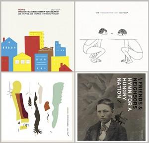 Clean Feed-utgivelser, øverst fra venstre: Ingebrigt Håker Flaten New York Quartet,  Snik, Zanussi 5 og Friends & Neighbors.