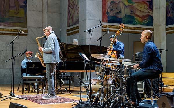 Charles Lloyd med Jason Moran (piano), Harish Raghavan (bass) og Eric Harland (trommer). Foto: Egil Austrheim/Oslo Jazzfestival