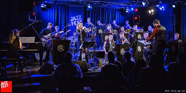 Ingrid Jensen og Kjellerbandet på Jazzfest fredag kveld. (foto: Arne Hauge/Jazzfest)