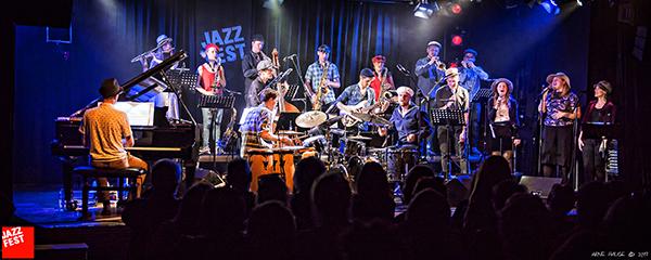 Forfriskende og inspirerende konsert: NTNU Jazzensemble med Heidi Skjerve og Daniel Buner Formo tolker Tre små kineseres musikk (foto: Arne Hauge/Jazzfest)
