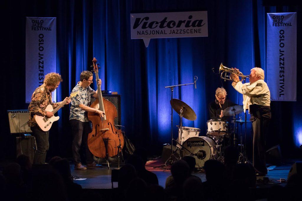 Jakob Bro, Thomas Morgan, Jon Christensen og Palle Mikkelborg (foto: Matija Puzar/Oslo Jazzfestival)
