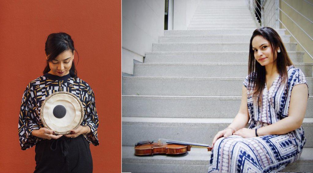 Sanskriti Shrestha (tablas) og Harpreet Bansal (fiolin) spiller på Bibliotekscenen på Øya onsdag. Foto: Andreas Wildhagen og Sara Övinge