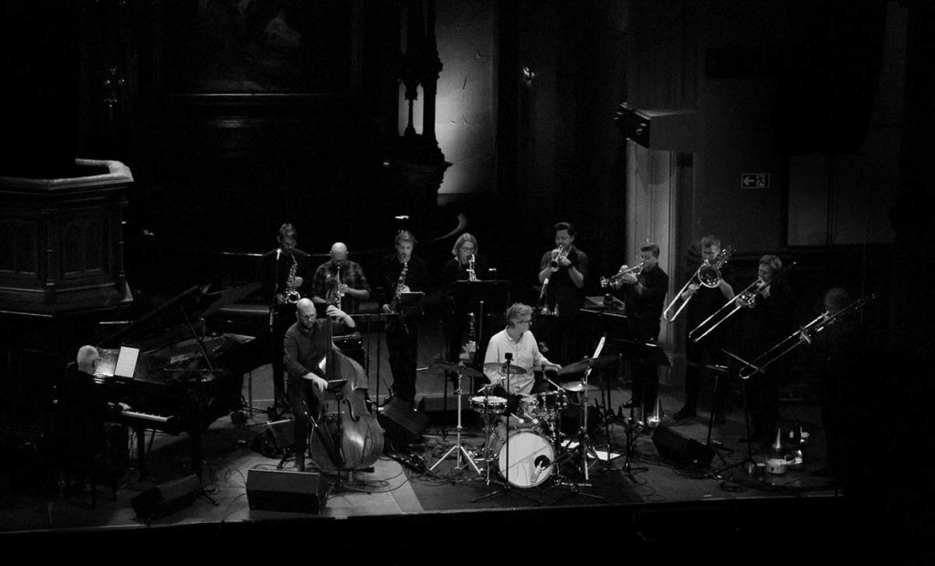 Scheen Jazzorkester i Kulturkirken Jakob i Oslo. Foto: Fra konsertfilm laget av Sigurd Ytre-Arne