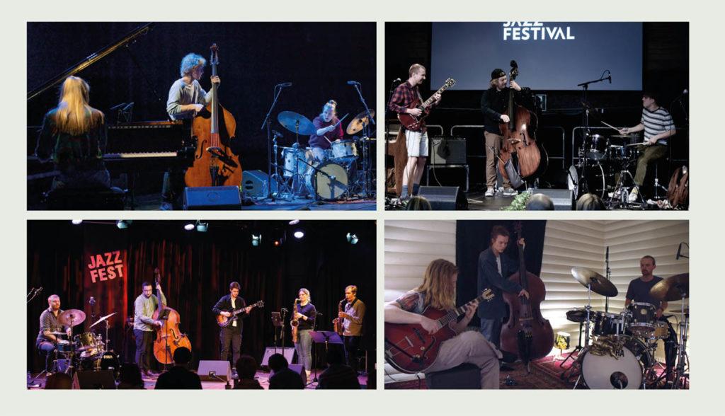 Jazzintro-finalistene, øverst fra venstre: Kongle Trio (foto: Thor Egil Leirtrø/Moldejazz), Damata (foto: Torill Bakke/Oslo Jazzfestival), Front!Front (foto: Thor Egil Leirtrø/Jazzfest) og Hein Westgaard Trio (skjermdump).