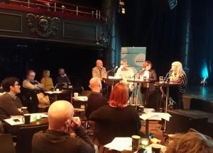 Paneldebatt om festivalprosil og booking. Fra venstre: journalist og moderator Terje Mosnes, Kai Gustavsen fra Kongsberg Jazzfestival, Lena Frisk fra Stockholm Jazzfestiva og Alexandra Archetti Stølen fra Oslo World Music Festival.