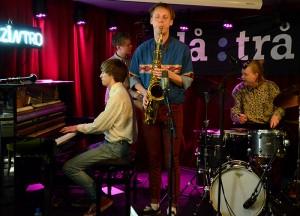 Titta Jag Flyger: Karl Nyberg (Lund, Sverige) - saksofon/klarinett, Axel Skalstad (Kongsberg) – trommer, Alf Hulbækmo (Tolga) – piano, Egil Kalman (Norrköping, Sverige) – bass. (foto: Reza Ahmadzadeh/MaiJazz)